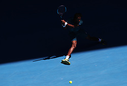 MELBOURNE, Jan. 18, 2018  Gael Monfils of France returns a shot during the men's singles second round match against Novak Djokovic of Serbia at Australian Open 2018 in Melbourne, Australia, Jan. 18, 2018. Gael Monfils lost 1-3. (Credit Image: © Bai Xuefei/Xinhua via ZUMA Wire)