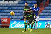 Forest Green Rovers Reece Brown(10) passes the ball forward during the EFL Sky Bet League 2 match between Oldham Athletic and Forest Green Rovers at Boundary Park, Oldham, England on 12 January 2019.