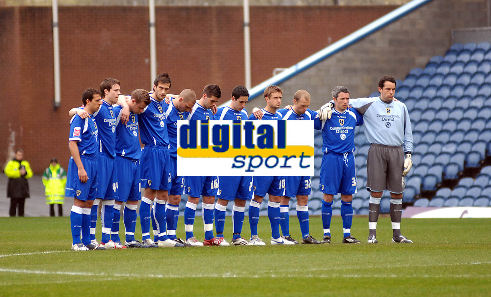 Photo: Paul Greenwood.<br />Burnley FC v Cardiff City. Coca Cola Championship. 09/04/2007.<br />Cardiff players stand in a minutes silence in memory of Brian Millar
