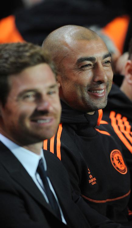 Picture by Daniel Hambury/Focus Images Ltd. 07813 022858.13/9/11.Roberto Di Matteo, coach and Andre Villas-Boas, manager of Chelsea during the UEFA Champions League Group E match at Stamford Bridge stdium, London.