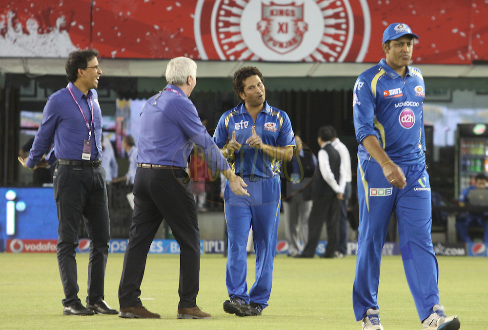 Commentator Harsha Bhogle, Alan Wilkins , Mumbai Indians icon Sachin Tendulkar and Anil Kumble during match 48 of the Pepsi Indian Premier League Season 2014 between the Kings XI Punjab and the Mumbai Indians held at the Punjab Cricket Association Stadium, Mohali, India on the 21st May  2014<br /> <br /> Photo by Arjun Panwar / IPL / SPORTZPICS<br /> <br /> <br /> <br /> Image use subject to terms and conditions which can be found here:  http://sportzpics.photoshelter.com/gallery/Pepsi-IPL-Image-terms-and-conditions/G00004VW1IVJ.gB0/C0000TScjhBM6ikg