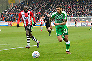 Kaiyne Woolery (22) of Swindon Town on the attack during the EFL Sky Bet League 2 match between Exeter City and Swindon Town at St James' Park, Exeter, England on 24 March 2018. Picture by Graham Hunt.