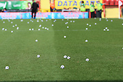 Charlton fans protesting by throwing small footballs onto pitch during the Sky Bet Championship match between Charlton Athletic and Birmingham City at The Valley, London, England on 2 April 2016. Photo by Matthew Redman.