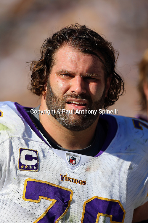 Minnesota Vikings guard Steve Hutchinson (76) looks on during the NFL football game against the Pittsburgh Steelers, October 25, 2009 in Pittsburgh, Pennsylvania. The Steelers won the game 27-17. (©Paul Anthony Spinelli)