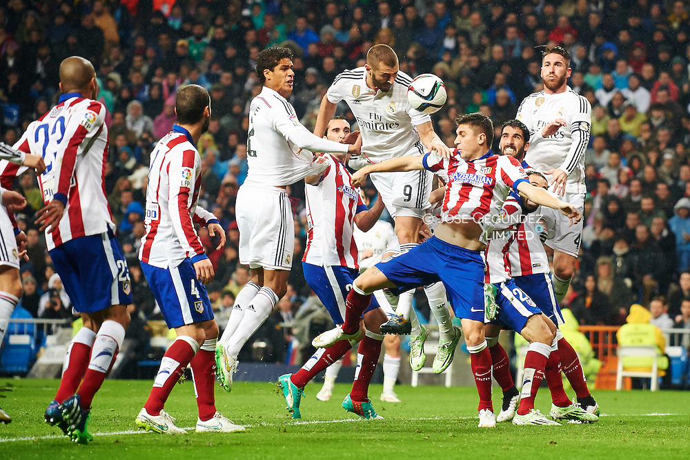 Godin, Mario Suarez, Raphael Varane, Karim Benzema, Gareth Bale and Sergio Ramos during the Copa del Rey, round of 8 match between Real Madrid and Atletico de Madrid at Estadio Santiago Bernabeu on January 15, 2015 in Madrid, Spain.