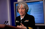 Dr. Anne Schuchat, Principal Deputy Director of the CDC  and Dr. Anthony Fauci, Director of NIH/NIAID, make a statement and answer questions on the Zika Virus prevention at the daily White House press briefing on April 10, 2016.<br /> Photo by Dennis Brack