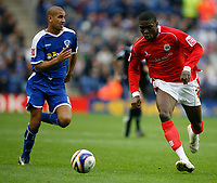 Photo: Steve Bond.<br /> Leicester City v Barnsley. Coca Cola Championship. 27/10/2007. Kayode Odejayi (L) charges through the middle