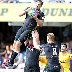 Etienne Oosthuizen of the Cell C Sharks during the Super Rugby match between the Cell C Sharks and the Jaguares  April 8th 2017 - at Growthpoint Kings Park,Durban South Africa Photo by (Steve Haag Sports)