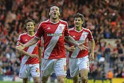 Lee Tomlin scores during the Sky Bet Championship Play Off Second Leg match between Middlesbrough and Brentford at the Riverside Stadium, Middlesbrough, England on 15 May 2015. Photo by Simon Davies.