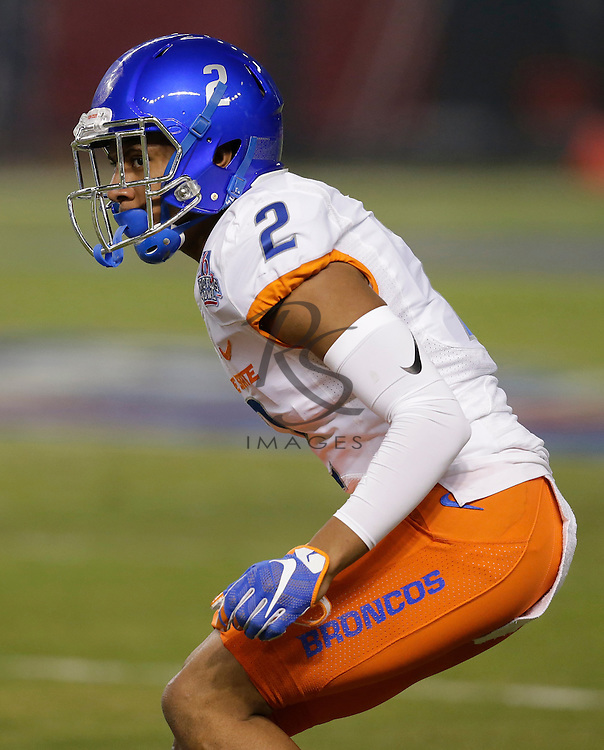Boise State cornerback Jonathan Moxey (2) during the Cactus Bowl NCAA college football game against Baylor, Tuesday, Dec. 27, 2016, in Phoenix. (AP Photo/Rick Scuteri)