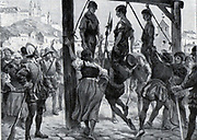 "Execution of the communards at Segovia 1520   During the war of the ""comunidades"" (1520-1521), Segovia rose against Charles V, resisting the imperial troops for six months in the fortress under the command of Diego de Cabrera, preventing the fortress being taken by the comuneros who had become powerful in the walled enclosure of the city. The Romanesque Cathedral in front of the fortress was destroyed as a consequence of this."
