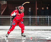 2018-11-11 | Jönköping, Sweden: Jönköping Bandy IF (10) Oscar Wareborn during the game between Jönköping Bandy IF and Åtvidaberg BK at Råslätts IP ( Photo by: Marcus Vilson | Swe Press Photo )<br /> <br /> Keywords: Råslätts IP, Jönköping, Bandy, Div. 1 Södra, Jönköping Bandy IF, Åtvidaberg BK, Oscar Wareborn