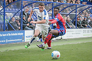 Adam Buxton (Tranmere Rovers) runs past the Aldershot Town defender to set up another attack during the Vanarama National League second leg play off match between Tranmere Rovers and Aldershot Town at Prenton Park, Birkenhead, England on 6 May 2017. Photo by Mark P Doherty.