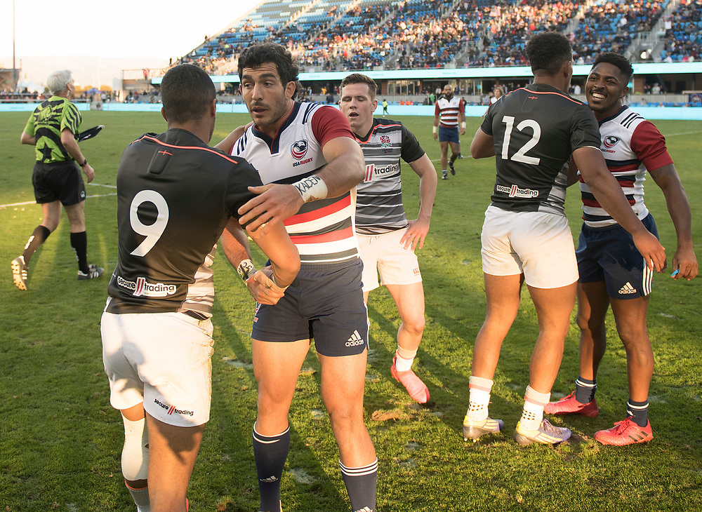 Teams compete in the knockout rounds of the Silicon Valley Sevens in San Jose, California. November 4, 2017. <br /> <br /> By Jack Megaw.<br /> <br /> <br /> <br /> www.jackmegaw.com<br /> <br /> jack@jackmegaw.com<br /> @jackmegawphoto<br /> [US] +1 610.764.3094<br /> [UK] +44 07481 764811