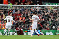 Football - 2017 / 2018 UEFA Champions League - Semi-Final, First Leg: Liverpool vs. A.S. Roma<br /> <br /> Sadio Mane of Liverpool scores a goal but it is ruled out for offside, at Anfield.<br /> <br /> COLORSPORT/PAUL GREENWOOD