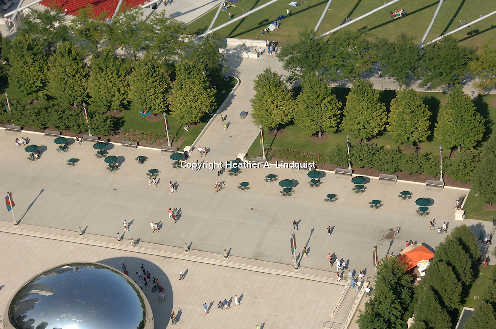 """""""Cloud Gate"""" by Anish Kapoor in Millenium Park.  Taken from Willoughby Tower on Michigan Avenue."""