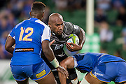 Nemani Nadolo of the BNZ Crusaders pushes past Solomoni Rasolea of the Western Force during the Canterbury Crusaders v the Western Force Super Rugby Match. Nib Stadium, Perth, Western Australia, 8th April 2016. Copyright Image: Daniel Carson / www.photosport.nz