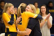 September 19, 2017 - Johnson City, Tennessee - Brooks Gym: ETSU setter Alyssa Kvarta (12), ETSU head coach Lindsey Devine<br /> <br /> Image Credit: Dakota Hamilton/ETSU