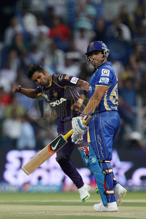 RanganathVinay Kumar of the Kolkata Knight Riders celebrates the wicket of Karun Nair of the Rajatshan Royals during match 19 of the Pepsi Indian Premier League 2014 Season between The Kolkata Knight Riders and the Rajasthan Royals held at the Sheikh Zayed Stadium, Abu Dhabi, United Arab Emirates on the 29th April 2014<br /> <br /> Photo by Ron Gaunt / IPL / SPORTZPICS