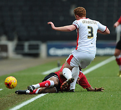 Bristol City's Korey Smith is fouled by Milton Keynes Dons' Dean Lewington  - Photo mandatory by-line: Joe Meredith/JMP - Mobile: 07966 386802 - 07/02/2015 - SPORT - Football - Milton Keynes - Stadium MK - MK Dons v Bristol City - Sky Bet League One