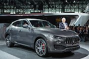 New York, NY, USA-23 March 2016. A Maserati spokesman introducing a Maserati Levante, the automaker's first foray into the luxury SUV market. The car starts at $72,000 US, and is off-road capable.