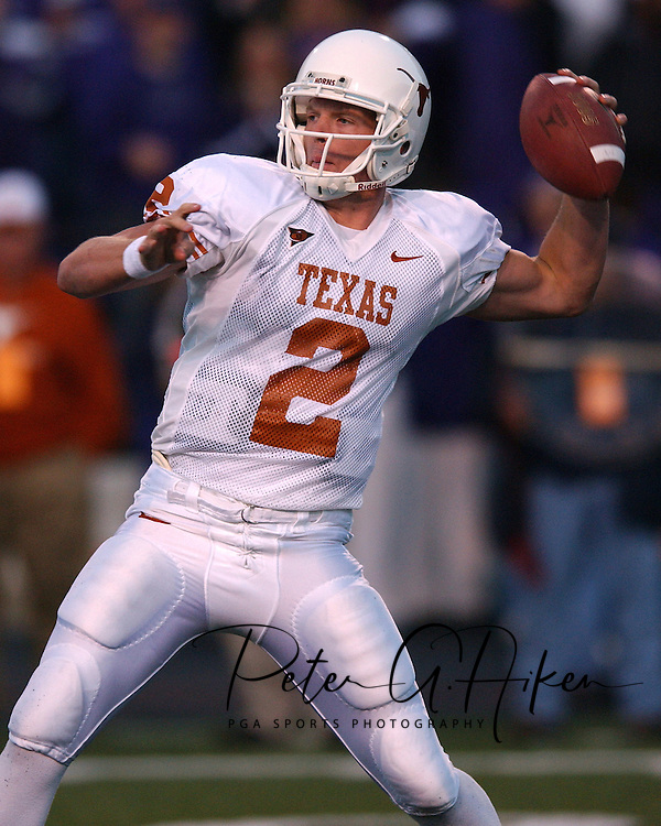 Texas quarterback Chris Simms during game action against Kansas State at KSU Stadium in Manhattan, Kansas in 2002.