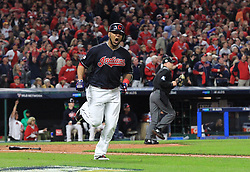 October 11, 2017 - Cleveland, OH, USA - The Cleveland Indians' Edwin Encarnacion reacts as he flies out to deep center in the sixth inning against the New York Yankees during Game 5 of the American League Division Series, Wenesday, Oct. 11, 2017, at Progressive Field in Cleveland. (Credit Image: © Phil Masturzo/TNS via ZUMA Wire)