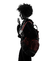 one mixed race african young teenager girl woman laughing mocking in studio shadow silhouette isolated on white background