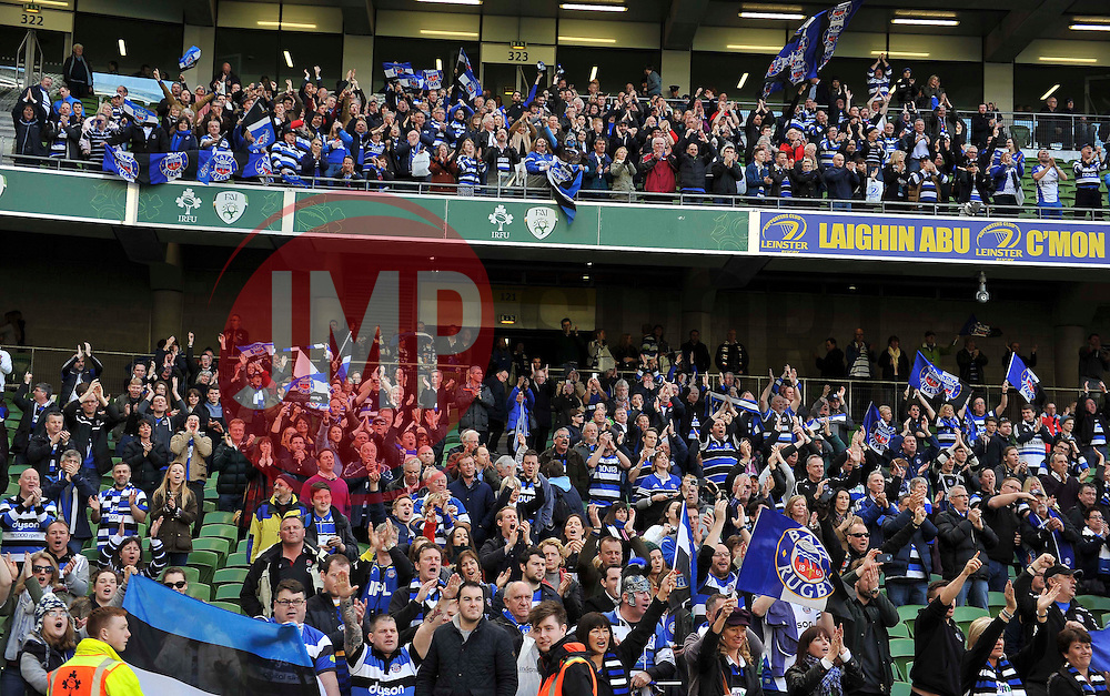 A general view of the travelling Bath fans showing their support after the match - Photo mandatory by-line: Patrick Khachfe/JMP - Mobile: 07966 386802 04/04/2015 - SPORT - RUGBY UNION - Dublin - Aviva Stadium - Leinster Rugby v Bath Rugby - European Rugby Champions Cup