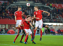 VIENNA, AUSTRIA - Thursday, October 6, 2016: Austria's Florian Klein, captain Julian Baumgartlinger and Marc Janko during the 2018 FIFA World Cup Qualifying Group D match against Wales at the Ernst-Happel-Stadion. (Pic by David Rawcliffe/Propaganda)