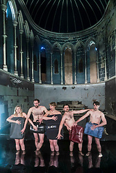 Performers from Volcano Theatre's Seagulls perform partly submerged in 45 tonnes of water in an interior lake filling St James church in Leith.<br /> <br /> Seagulls is an adaption of Chekov's The Seagull.<br /> <br /> Pictured L to R:  Elin Phillips, Gethin Alderman, Mairi Phillips, Neal McWilliam, Christopher Elson