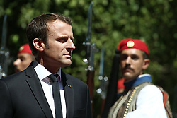 September 7, 2017 - Athens, Attika, Greece - French President Emmanuel Macron inspects the Presidential guard during the official reception ceremony at the Presidential mansion, in Athens on September 7, 2017. Emmanuel Macron is on an official two day visit in Greece. (Credit Image: © Panayotis Tzamaros/NurPhoto via ZUMA Press)