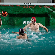 October 25, 2010 - Bronx, NY : Horace Mann Senior co-captain Reuben Dizengoff  competes from the net in the Lions' Oct. 25 Water Polo matchup against Hudson Valley.