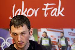 Croatia's Jakov Fak, biathlon athlete at press conference about his further career in Slovenian National biathlon team  on November 8, 2010 in Novinarsko drustvo Hrvatske, Zagreb, Croatia. (Photo By Vid Ponikvar / Sportida.com)