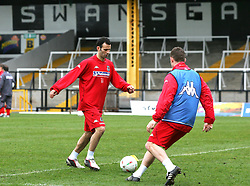 SWANSEA, WALES - TUESDAY MARCH 22nd 2005: Wales' Ryan Giggs during training at Swansea City's Vetch Field Stadium. (Pic by David Rawcliffe/Propaganda)