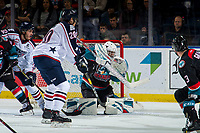KELOWNA, CANADA - OCTOBER 13:  Roman Basran #30 of the Kelowna Rockets makes a first period save against the Tri-City Americans on October 13, 2018 at Prospera Place in Kelowna, British Columbia, Canada.  (Photo by Marissa Baecker/Shoot the Breeze)  *** Local Caption ***