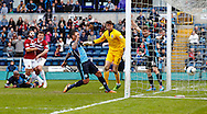 Dean Morgan of Wycombe Wanderers scores in the dying seconds of the game only to see it ruled out for off-side during the Sky Bet League 2 match at Adams Park, High Wycombe<br /> Picture by David Horn/Focus Images Ltd +44 7545 970036<br /> 18/04/2014
