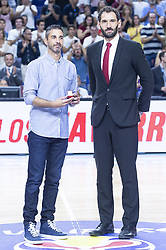 September 17, 2018 - Madrid, Spain - Juan Carlos Navarro and Jorge Garbajosa during the FIBA Basketball World Cup Qualifier match Spain against Latvia at Wizink Center in Madrid, Spain. September 17, 2018. (Credit Image: © Coolmedia/NurPhoto/ZUMA Press)