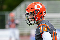 KELOWNA, BC - SEPTEMBER 22: Conor Richard #10 of Okanagan Sun stands on the field during warm up against the Valley Huskers  at the Apple Bowl on September 22, 2019 in Kelowna, Canada. (Photo by Marissa Baecker/Shoot the Breeze)