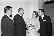 11/05/1962<br /> 05/11/1962<br /> 11 May 1962<br /> Bahamas Travel Association Reception in the Shelbourne Hotel, Dublin. Murray E. Taylor, General Sales Manager U.K and Europe, Bahamas Tourist Board; H. Milton Taylor, member of Bahamas Development Board; Mrs L.Connolly and William Connolly, Sabena.