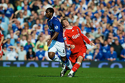 LIVERPOOL, ENGLAND - Saturday, September 27, 2008: Everton's Joseph Yobo and Liverpool's Fernando Torres during the 208th Merseyside Derby match at Goodison Park. (Photo by David Rawcliffe/Propaganda)