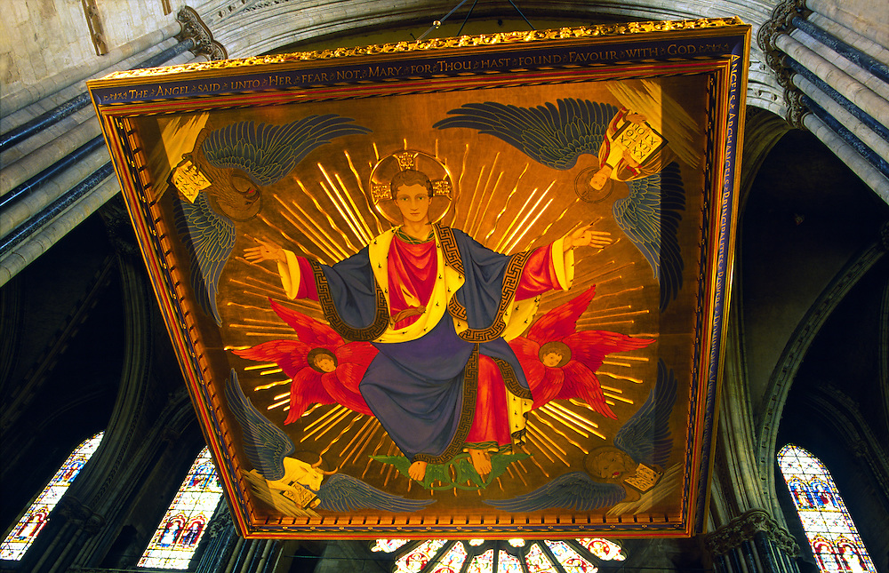 Religious painting, known as a tester, of Christ in Glory above tomb of Saint Cuthbert in Durham Cathedral, Durham, England.