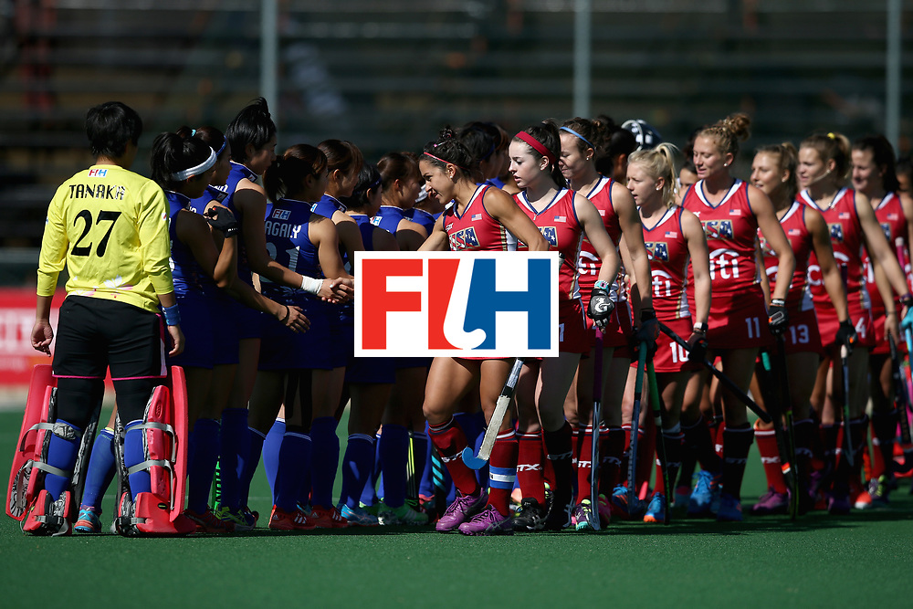 JOHANNESBURG, SOUTH AFRICA - JULY 18: The United States team and the Japan team shake hands prior to the Quarter Final match between the United States and Japan during the FIH Hockey World League - Women's Semi Finals on July 18, 2017 in Johannesburg, South Africa.  (Photo by Jan Kruger/Getty Images for FIH)