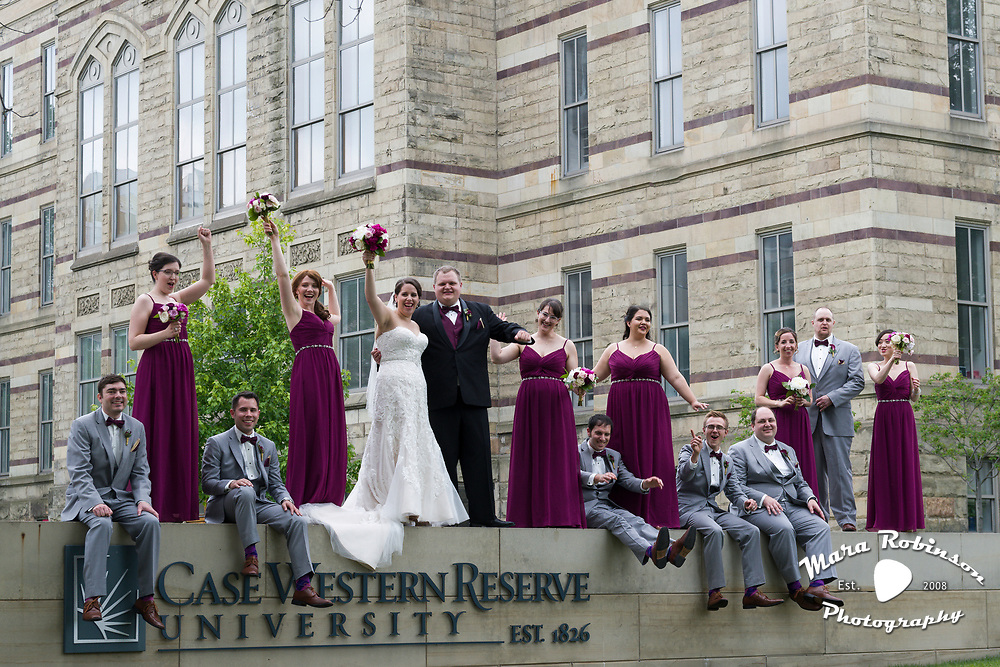 wedding party at Case Western Reserve University by Tallmadge wedding photographer, Akron wedding photographer Mara Robinson Photography