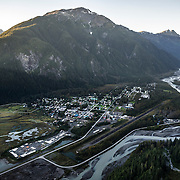 An aerial view of the small, coastal town of Stewart, British Columbia.