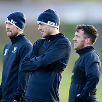 St Johnstone Training…07.12.18…   McDiarmid Park    <br />David Wotherspoon, Murray Davidson and Danny Swanson pictured during training ahead of tomorrows game against Aberdeen<br />Picture by Graeme Hart. <br />Copyright Perthshire Picture Agency<br />Tel: 01738 623350  Mobile: 07990 594431