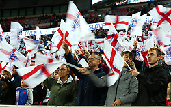 England fans wave flags as the teams enter the pitch at Wembley - Mandatory by-line: Robbie Stephenson/JMP - 05/10/2017 - FOOTBALL - Wembley Stadium - London, United Kingdom - England v Slovenia - World Cup qualifier
