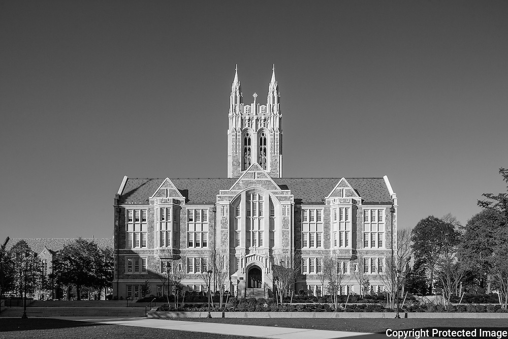 Gasson Hall, c. 1913 is at the center of the Middle Campus and can be seen from almost everywhere. It has been know by other names in the past: the Recitation Building as well as the Tower Building. There are four bells in the tower that can be heard across campus.