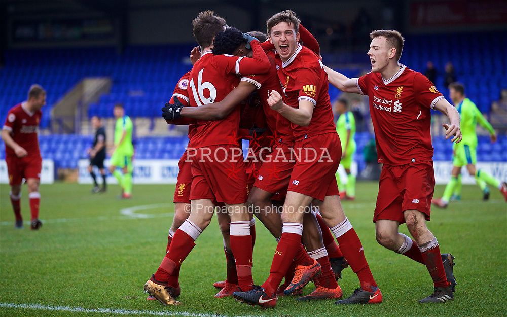 BIRKENHEAD, ENGLAND - Sunday, January 28, 2018: Liverpool's Oviemuno Ovie Ejaria celebrates scoring the winning goal with team-mates for Liam Millar, Conor Masterson and George Johnston during the Under-23 FA Premier League 2 Division 1 match between Liverpool and Derby County at Prenton Park. (Pic by David Rawcliffe/Propaganda)