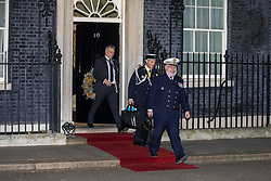 London, UK. 3 December, 2019. Members of the delegation of French President Emmanuel Macron leave 10 Downing Street following a meeting with Turkish President Recep Tayyip Erdoğan hosted by Prime Minister Boris Johnson and German Chancellor Angela Merkel to discuss the ongoing dispute between the two Presidents following the Turkish invasion of Kurdish-controlled areas of northern Syria.